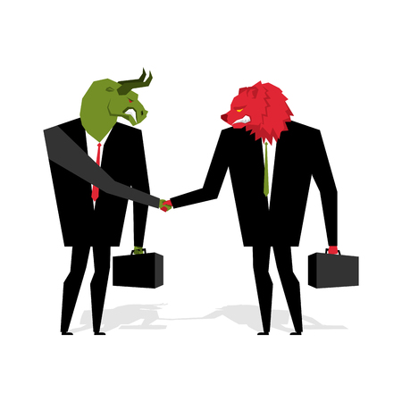 traders: bull and bear Deal. Animals businessmen make trade. Men shake hands. Contract between traders on stock exchange. Handshake Beasts in suit and briefcase