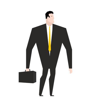 plankton: El hombre de negocios con la cartera. Gerente en traje formal negro. Lazo amarillo. oficina de plancton. Jefe en el fondo blanco. Hombre de negocios aislado Vectores