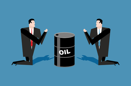 adoration: Businessman praying for oil barrels. Prayer oil quotations. People are standing on their knees in front of black gold. Allegory illustration for magazine business. Adoration of oil.