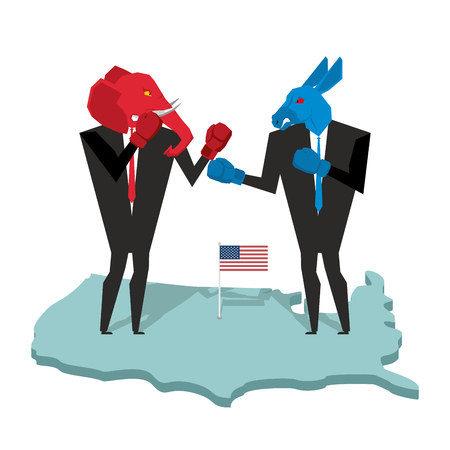 Donkey and elephant fight. Democrat and Republican opposition. Businessmen combat in business suit and boxing gloves. Battle of red and blue donkey elephant. Allegory of political parties in America. USA Elections