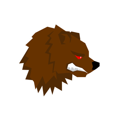 growling: Angry bear. aggressive Grizzlies with grin. Wild beast growls. Scary ferocious animals of  forest