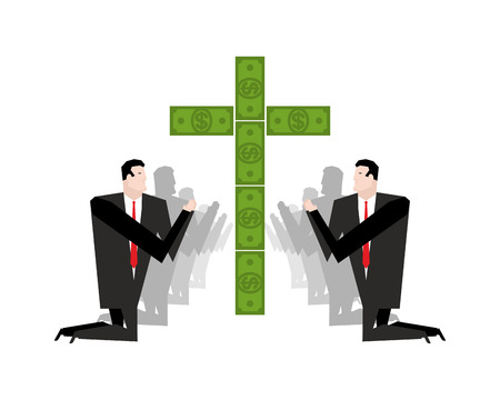 Businessman praying for money. Adoration of dollars. Financial idol. Prayer capital. People are standing on their knees in front of Cross of cash. Allegory illustration of business magazine. Illustration