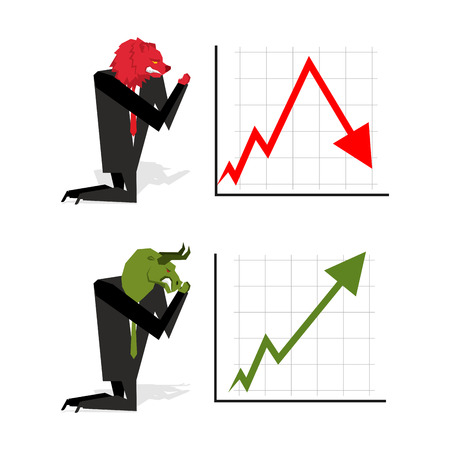stock trader: Bull and Bear pray to bet on stock exchange. Green up arrow. Red down arrow. Worship of money. Prayer quotes. Trader kneeling before graph. Allegory illustration for magazine business