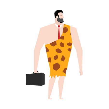 sapiens: Businessman prehistoric. Ancient boss in skin of giraffe. Neanderthal ina tie. Cro-Magnon to case. Homo sapiens business man. paleanthropic with suitcase. Caveman Director
