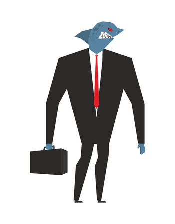 Business shark. Businessman with head sea predator. An evil predatory fish in business suit. Deep animal with briefcase and tie