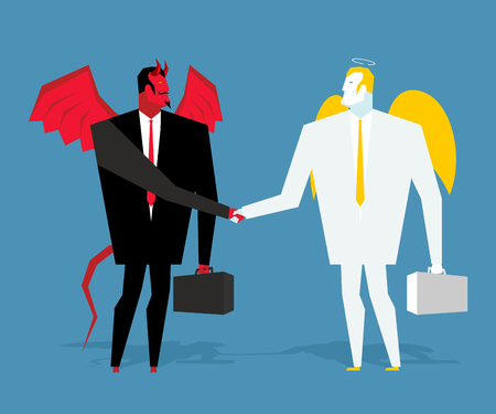 lucifer: Angel and demon deal. Satan and angel shake hands. Handshake of businessmen. ?ontract between devil and angel. Agreement between heaven and hell. Lucifer in business suit and cherub manager paradise