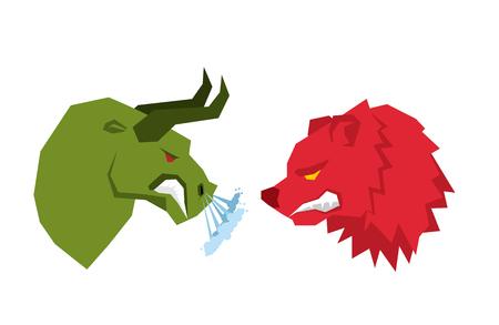 Red Bär und grüne Stier. Die Trader auf tock Austausch Symbole. Konfrontation Geschäftsleute. Allegorie Illustration für Business-Infografiken Vektorgrafik
