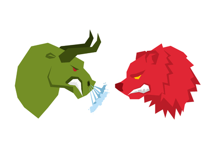 Red Bear and green bull. Traders on tock exchange symbols. Confrontation Businessmen. Allegory illustration for business infographics Stock Illustratie