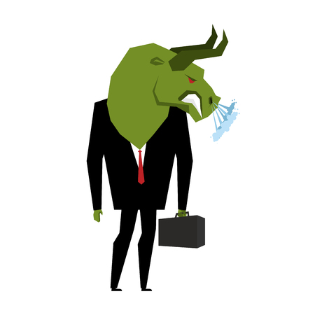 business metaphore: Businessman Bull. Player on stock exchange with head of green bull. Farm animal with briefcase and tie. Beast in business a suit. Metaphor Trader in Financial Exchange