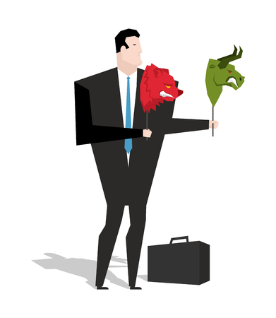 stock trader: Bear and bull mask in hands of businessman trader. Player on stock exchange holds animals head. Change strategy in business valuations