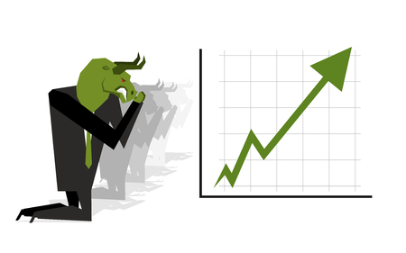 stock quotes: Green Bull prays on rate increase on stock exchange. Green arrow up. Worship of money. Prayer quotes. Trader kneeling before schedule. Allegory illustration for magazine business Illustration