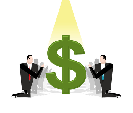 supplicate: Businessman praying to dollar. Financial idol. Worship of money. Prayer cash. People are standing on their knees in front of dollar sign. Allegory illustration for magazine business