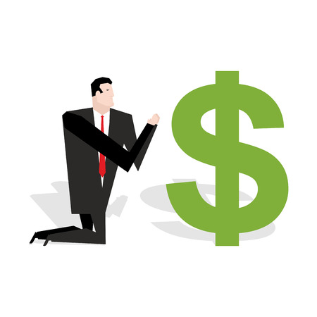 Financial idol. Businessman praying to dollar. Worship of money. Prayer cash. Man are standing on their knees in dollar sign. Allegory illustration for magazine business Illustration