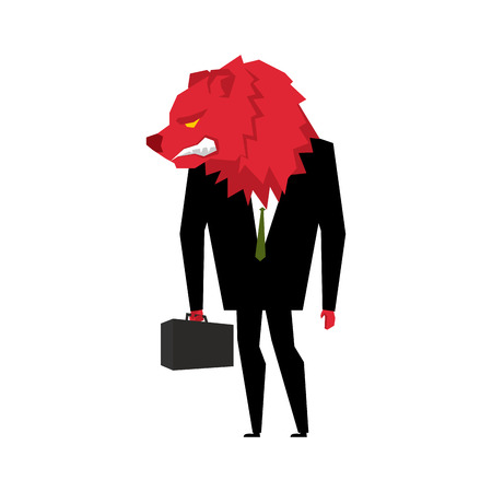 wicked: Red Bear Businessman. Player on the stock exchange with bears head. Wicked Wild animal with briefcase and tie. Beast in business suit. Metaphor Trader in Financial Exchange