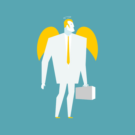 Angel businessman. Cherub paradise manager. Guardian Angel for your business. Holy man with halo in business suit. Good seraphim with wings and case. Lamb of God Business man. Archangel with suitcase