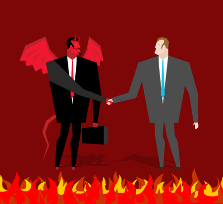 sinner: Deal with devil. Businessman and make a deal demon in hell. Satan and man shake hands. Handshake in purgatory. Contract between devil and manager. Lucifer in business suit and sinner Illustration