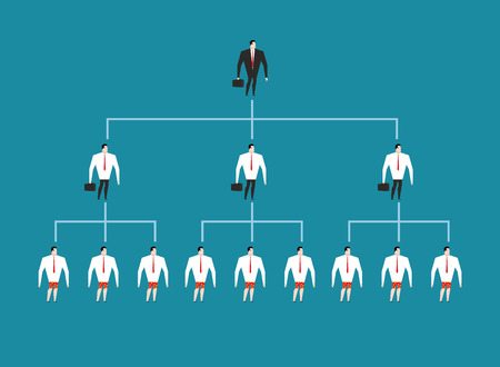 managing: hierarchy in company. Managing people management. Boss and his deputies. To give an order. Managers are subject to supervisor. Workers in career system Illustration