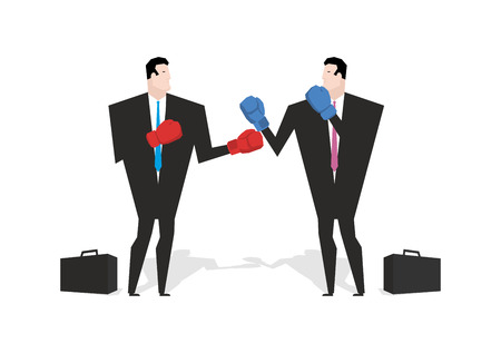 Boxing businessman. Managers are boxing. Office people fight. combat Businessmen in business suit and boxing gloves. Battle merchants. Allegory illustration for business infographics