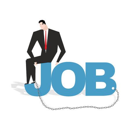 relaciones laborales: Hombre de negocios y trabajo. triste hombre encadenado a trabajar. La dependencia de las relaciones laborales. Gerente en cautiverio, compulsi�n a trabajar. La esclavitud en el trabajo Vectores