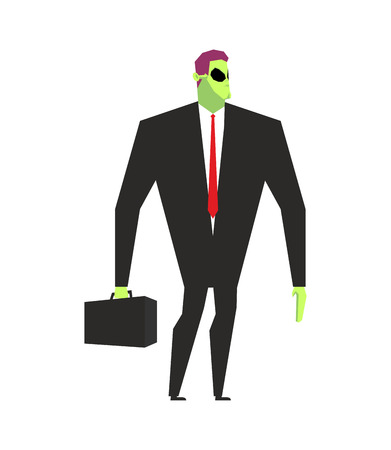 martian: Alien businessman. UFO boss. Martian in business suit. Alien and case. Space Ambassador with suitcase. Green alien businessman with Mars Illustration