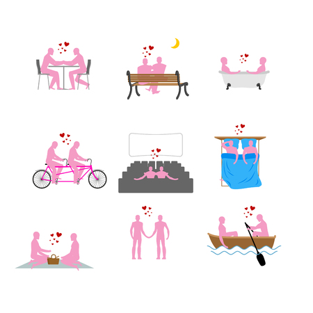nude outdoors: LGBT silhouettes set. Pink people in movie theater. Lovers in bath. Romantic rendezvous of gay people. Boating. Joint walk. Cycling tandem. Breakfast in cafe. Picnic in park Illustration