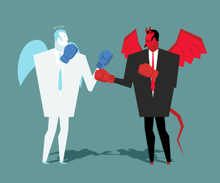 Battle heaven and hell. Angel and demon combat. Satan and angel are boxing. war between devil and angel. Lucifer in business suit and contend gloves cherub Illustration