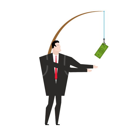 stimulus: financial incentive for employee. Fishing rod with dollar. Motivation for managers. Monetary stimulus. Performing duties. Promotion at work