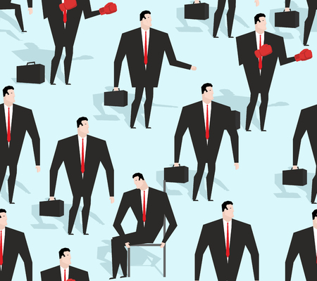 rigorous: Manager seamless pattern. Business varied in different situations texture. Ornament of men in costume. Red tie and business suit rigorous Illustration