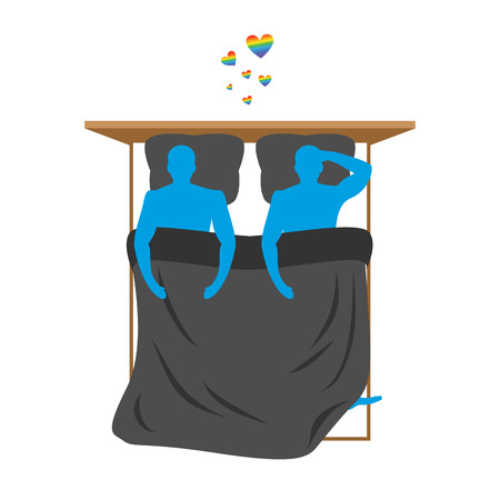 romantic sex: Gays in bed. Lovers in bed top view. Two blue people are in bed. Smoking after sex. Heart with love LGBT radugoy- symbol. Pillow and blanket. Smoking a cigarette after making love. Romantic illustration Illustration