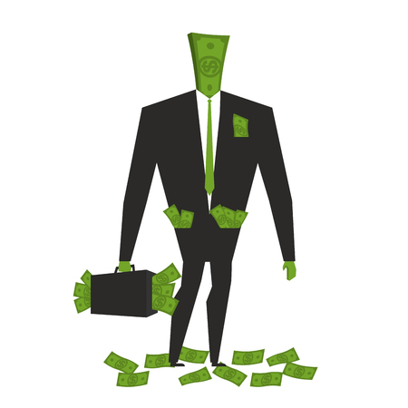 wite: Money man. Dollar  Monster. human wite cash. Bundle of dollars. Businessman rich. Case with money. rich boss. Sack of money for head. finance person