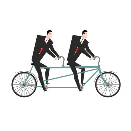 cycle suit: Businessman cycling. Business team goes on bike tandem. Manual management of project. Two managers in suits pedal
