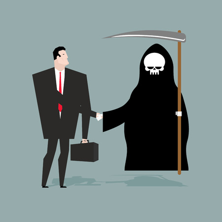 purgatory: Deal with death. Businessman and Grim Reaper make transaction. Skeleton in hood and man shake hands. Handshake in purgatory. Agreement between death and manager. White skull and scythe