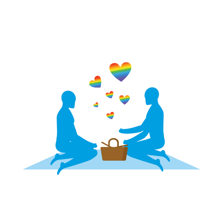 rendezvous: LGBT picnic. Gay Rendezvous in Park. Rural jaunt lovers men. Meal in nature. Plaid and basket for food on lawn. Romantic LGBT illustration. Blue people Illustration