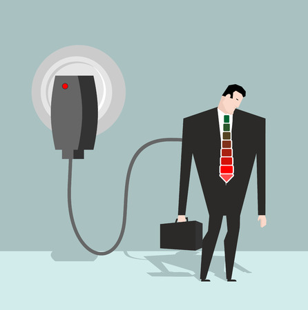 charged: Charging for manager. Businessman charged from battery charger. Energizes a man in suit. Tie and suitcase