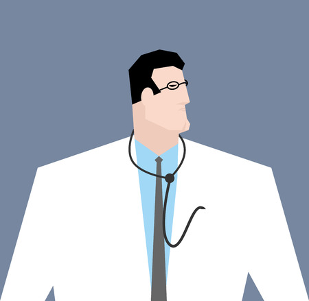 docking: Doctor in white coat. Medical worker with stethoscope. Docking with glasses isolated