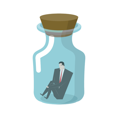pent: Businessman in glass jar. Boss in bottle. Desperate situations. Man sitting alone at bottom of vessel