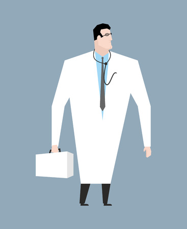 aesculapius: Doctor in white coat. Doc with stethoscope. Medical worker with glasses. Young man in white coat. Doctors suitcase and statoscope. Aesculapius isolated