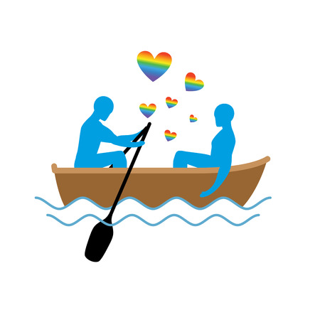 rendezvous: Gays in boat. Lovers of sailing. Rendezvous blue men in  boat on pond. Romantic LGBT illustration. Heart rainbow symbol of homosexual love Illustration