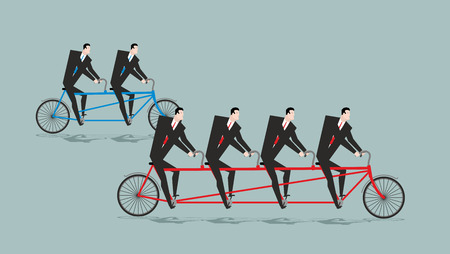 competitions: Business team on tandem. Long bike. Many managers. Large company ahead of small organization. Competitions between departments in office Illustration