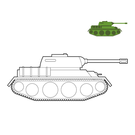 vehicle combat: Military Tank coloring book. Fighting technique in  linear style, armored combat vehicle, tracked with cannon armament. army transportation
