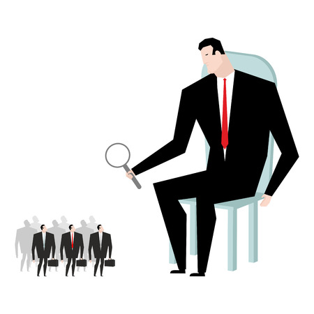 selection: Receiver selection. Boss looks under magnifying glass manager heir. Elected businessman. Choose favorite of office clerks. Selection of Deputy Illustration
