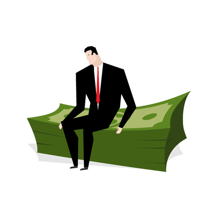 stack of cash: Businessman sitting on stack of dollars. Businessman and profit. Man is sitting on big wad of cash. Boss and lot of money. Manager earned dollars. director of wealth Illustration