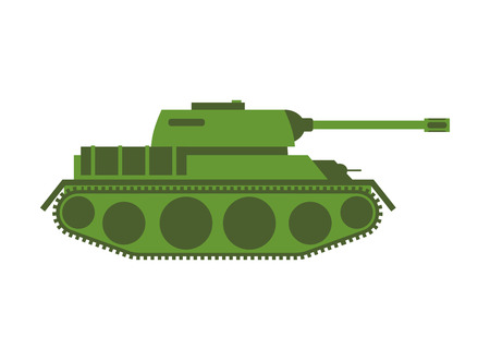 militarily: Tank isolated. Military equipment on white background, armored combat vehicle, tracked with cannon armament. army transportation