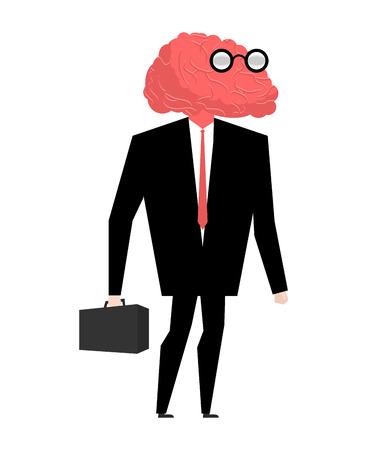 Zakenman hersenen genie. Heel slim manager. Brain dragen van een bril. witted persoon. betweter met koffer. wisenheimer in pak. Man van de wetenschap professional Vector Illustratie