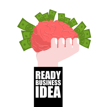 profitable: Ready business idea. Business Solutions. brain in his hand and money. concept is profitable. plan of attracting wealth