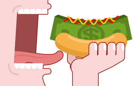 eats: Man consumes money. Cash hot dog. Muffin and dollars pack. Fast food fo rich, the oligarchs. Mustard and ketchup. Eats green currency