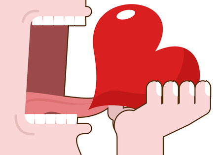 eats: Man eats love. Destruction of romantic relationship. Open mouth with tongue and teeth. Consumption of carp. Extermination of heart. Elimination of passion Illustration
