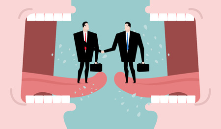 compromise: Negotiations and dialogue. Transaction business. Compromise between two business parties. Agreement on background of abuse. Two men shaking hands. Open mouth cry. communication people