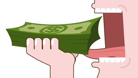 Man eating money. Consumption of cash. bundle of dollars in hand open mouth with teeth and tongue. consumption of Finance
