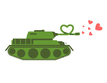 panzer: Army Tank love. Green shoots military machine hearts. Love Army equipment. Fighting vehicle for love